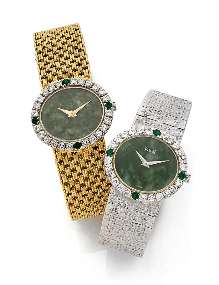 Piaget - Gold, jade, diamonds - Estimated 2-3,000 and €4-6,000 - Ca 1970 and 1969