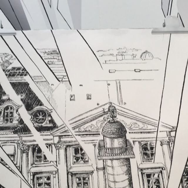 The Place Vendôme seen through a faceted diamond @lorenzbaumer @labiennaleparis by @thomas_dartigues @le_grand_palais #workinprogress it will be completely finished at the end of the Biennale  ____________ #lorenzbaumer @gregoirefavori #labiennaledeparis #frenchjewelry #placevendome #parislife #blackandwhite #chineseink #parismonument #pariscartepostale