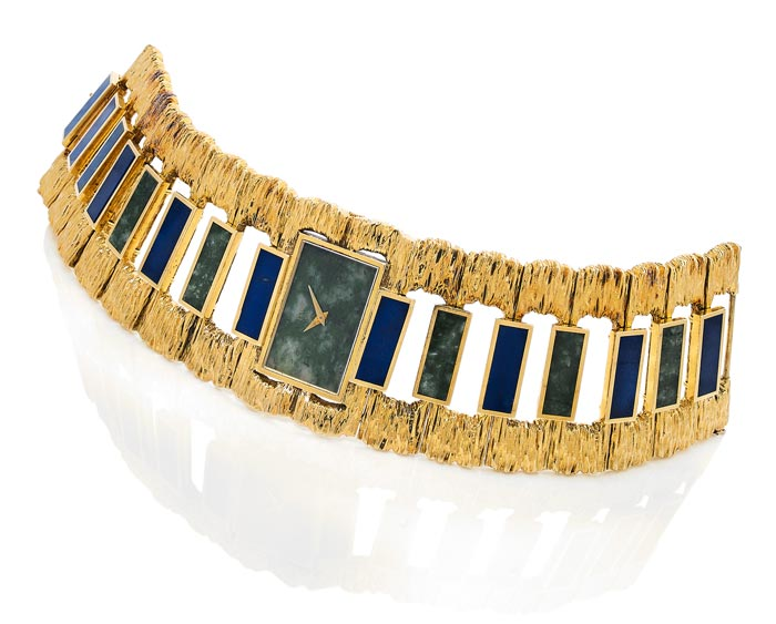 Piaget - Gold, lapis lazuli and nephrite - Estimated €10-15,000 - Ca 1969