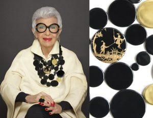 Grand plastron Be Bold Over formé par rangs de disques en porcelaine noir et or dessiné par Iris Appel pour Bernardaud