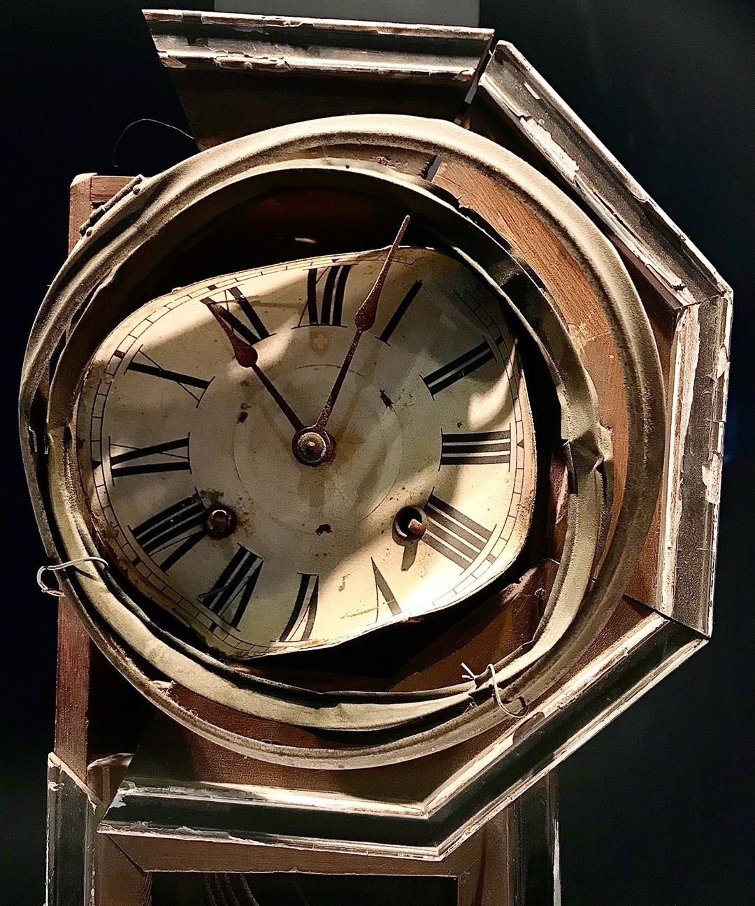 Moving visit at the #atomicbombmuseum Wall clock found about 800 meters from hypocenter Shattered by the blast Its hands stopped at 11:02 the moment of the explosion