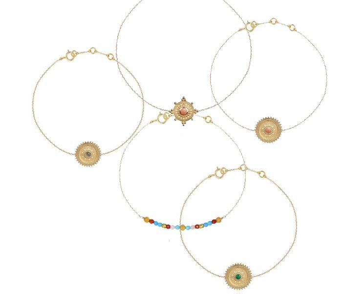 Perle de Lune, bracelets en or 9 carats